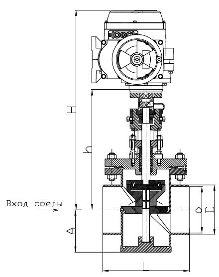 Затвор дисковый поворотный с МЭОФ-250/25